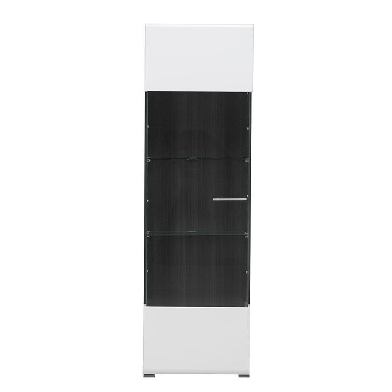 ΒΙΤΡΙΝΑ Enzo 1K VS Λευκό-Black Grey Wood-Λευκή Λάκκα 58*35*190