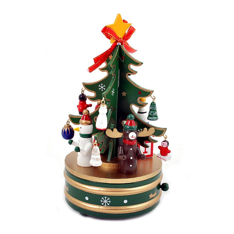 Χριστουγ δέντρο με στολίδια ξύλινο περιστρεφ 1/2 κοκκινο-πρασινο