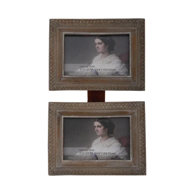 Διπλή κορνίζα τοίχου μπεζ πατίνα ορθογώνια 181102