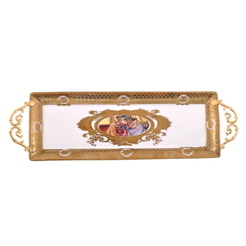 Δίσκος με χερούλι Λευκό-Χρυσό Ladies 33εκ Fylliana