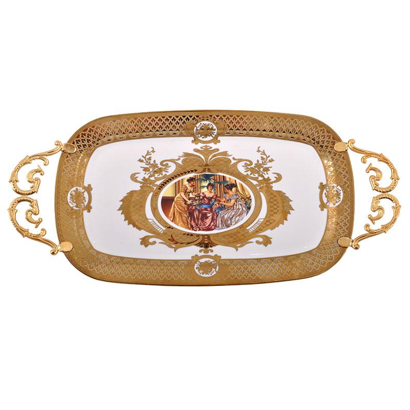 Δίσκος με χερούλι οβάλ Λευκό-Χρυσό Ladies 37εκ Fylliana