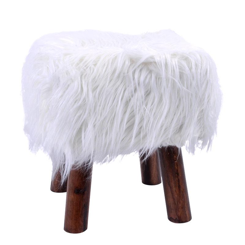 Γούνινο διακοσμητικο σκαμπό λευκό 30εκ Fylliana