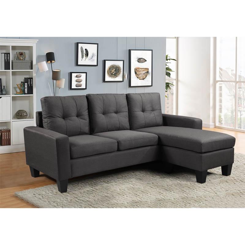 Καναπές γωνία 6035 Σκούρο Γκρι 195*140*82