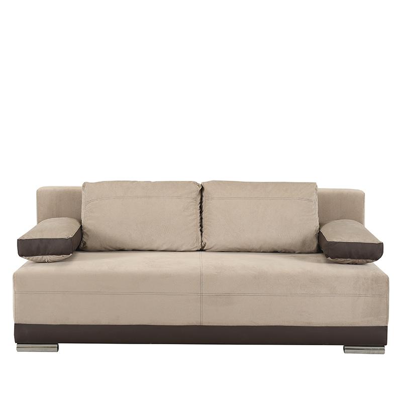 Καναπές κρεβάτι Kron μπεζ με καφέ δερματίνη 198*95*81