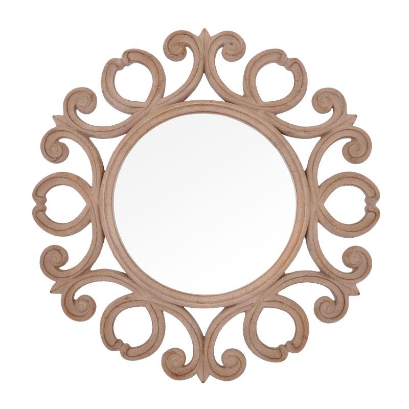 Καθρέφτης μπέζ πατίνα στρόγγυλος Fylliana FP-018