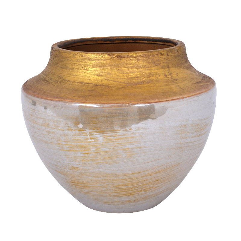 Κεραμικό βάζο με χρυσό στόμιο 16,5 εκ.