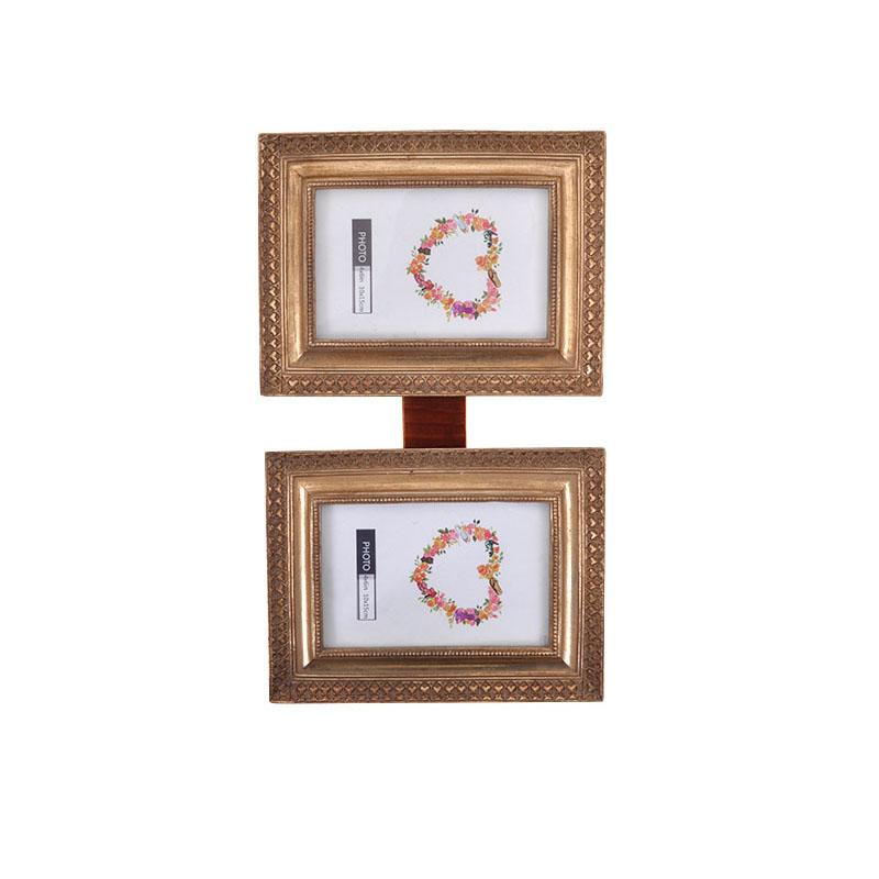 Κορνίζα Fylliana κρεμαστή διπλή ορθογώνια 181099 χρυσό χρώμα