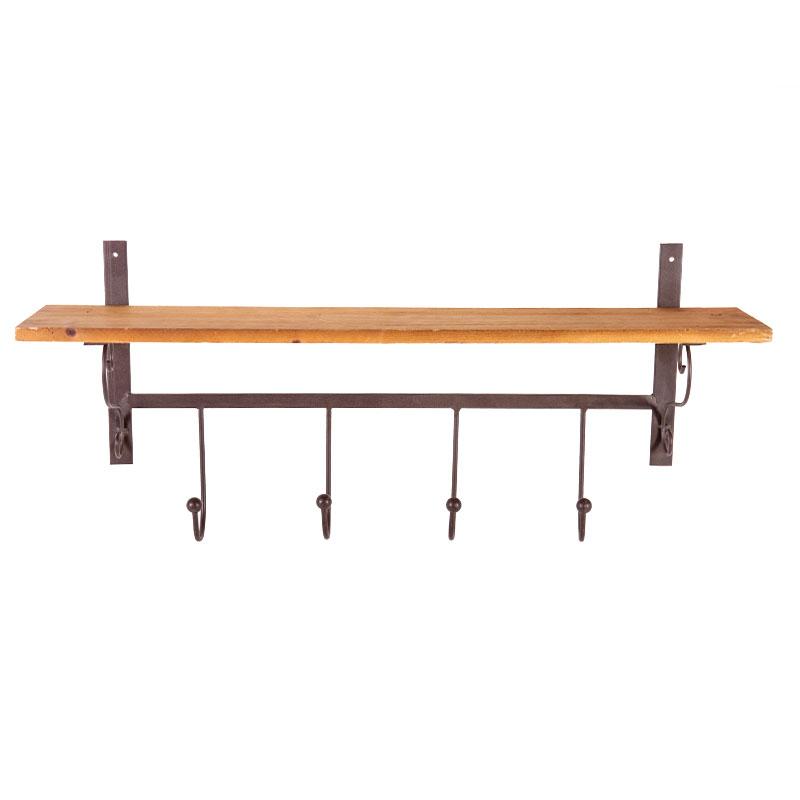 Κρεμάστρα μεταλλική με ξύλινο ράφι 60*13.5*26