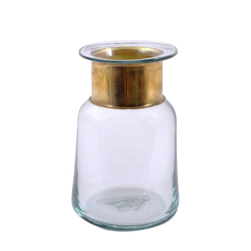 Μπουκάλι φυσητό γυαλί διάφανο με χρυσό στόμιο μικρό