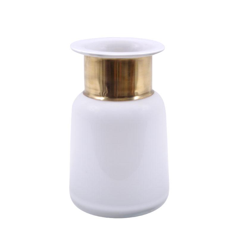 Μπουκάλι φυσητό γυαλί λευκό με χρυσό στόμιο μικρό