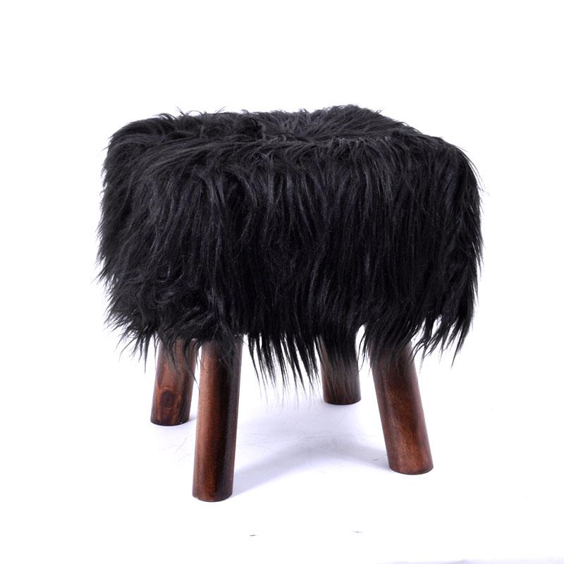 Γούνινο διακοσμητικο σκαμπώ μαύρο 30εκ