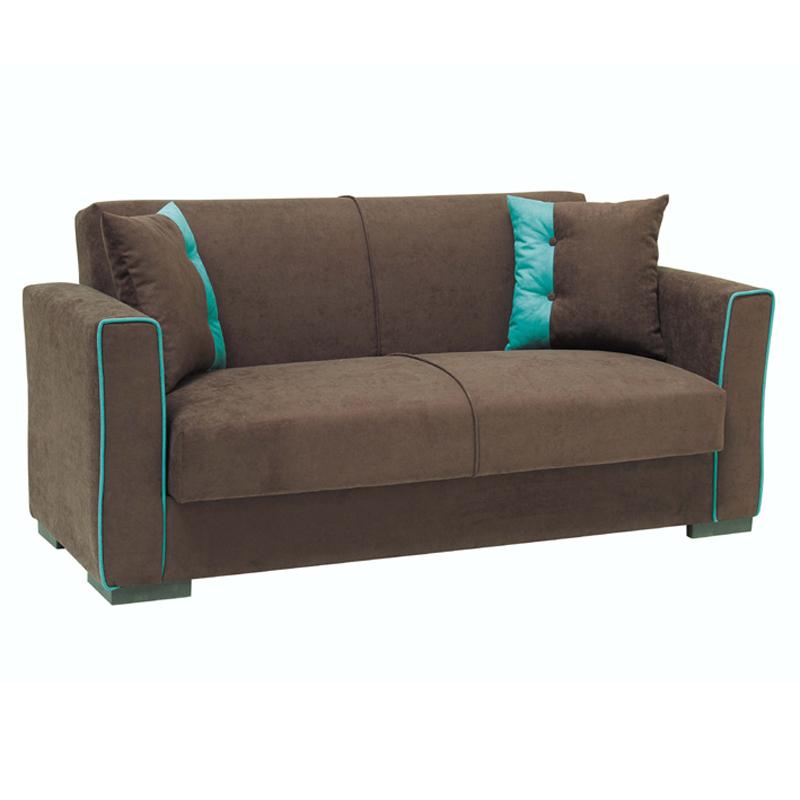 Καναπές διθέσιος Emily καφέ με μπλέ ρίγα 168*85*83
