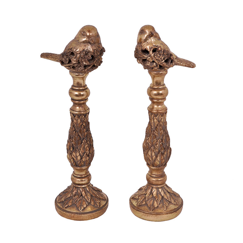 Σετ 2 Πουλιά σε σταντ 181907 χρυσό χρώμα Fylliana