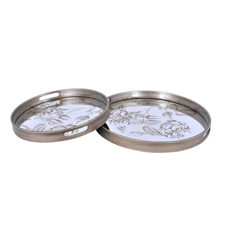 Σετ 2 στρογγ. δίσκοι με καθρέπτη και ασημί τύπωμα