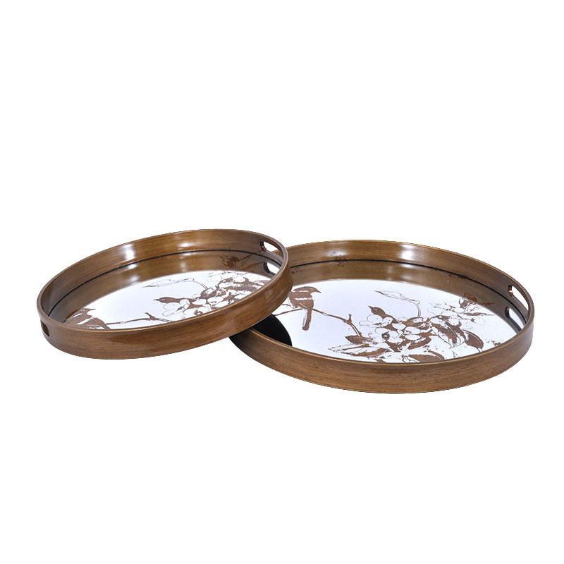 Σετ 2 στρογγ. δίσκοι με καθρέπτη και χρυσό τύπωμα
