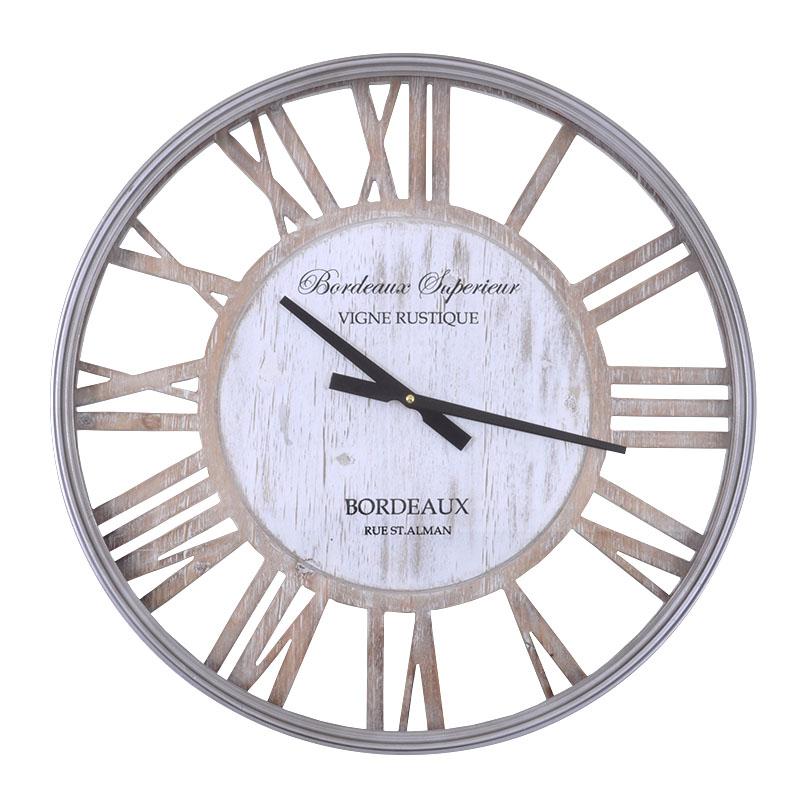 Στρογγυλό ρολόι τοίχου φυσικό-inox 60 εκ.
