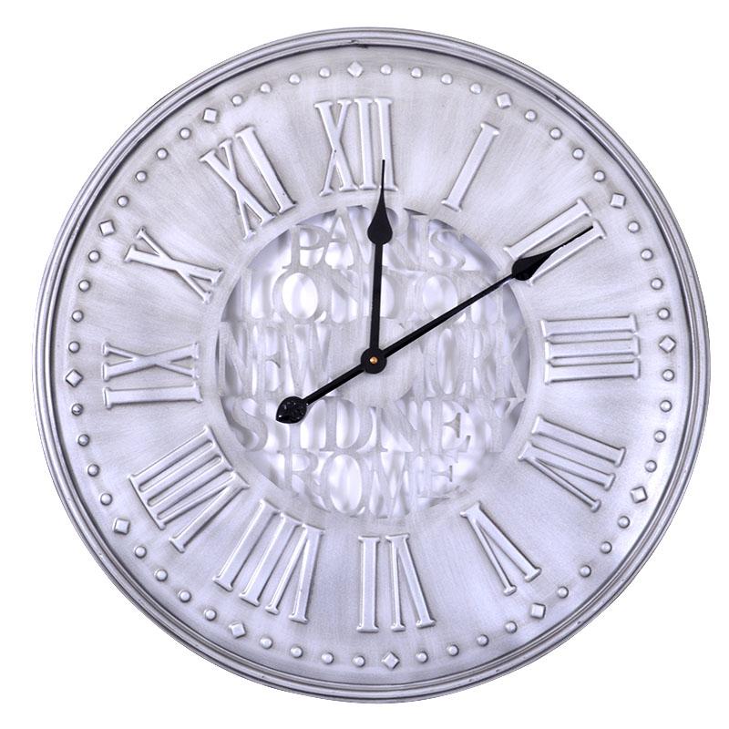 Στρογγυλό ρολόι τοίχου inox 60 εκ.