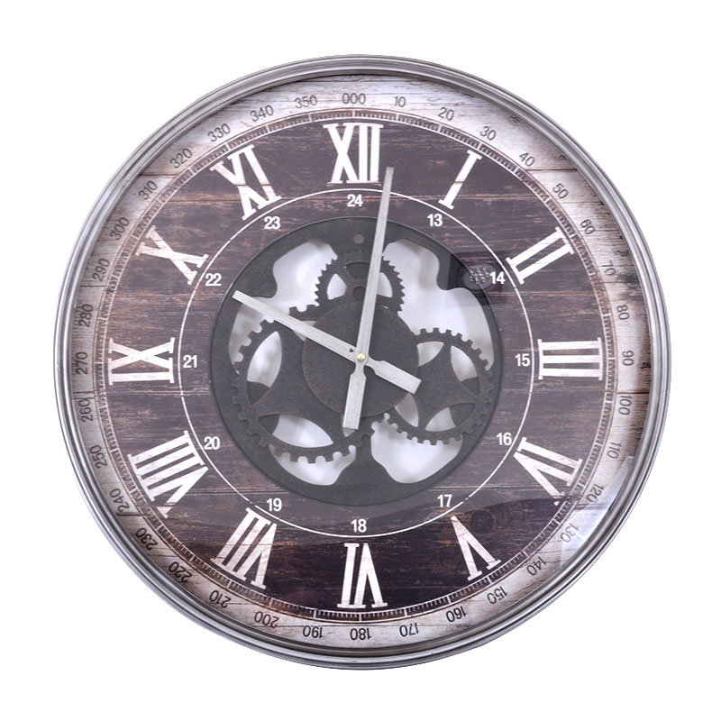 Στρογγυλό ρολόι τοίχου καφέ-rusty 60 εκ