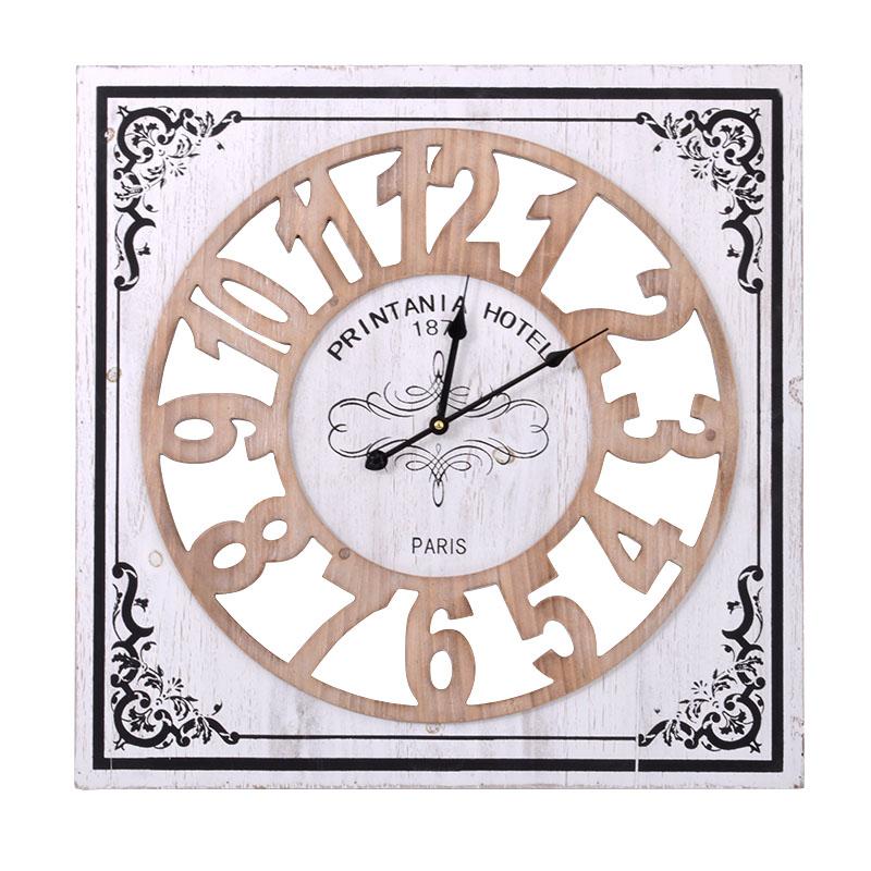 Τετράγωνο ρολόι τοίχου φυσικό-μπεζ 60 εκ.