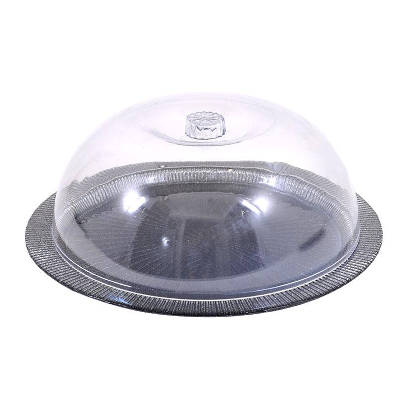 Τουρτιέρα radiant με πλαστικό καπάκι μαύρη-ασημί γκλίτερ 33εκ
