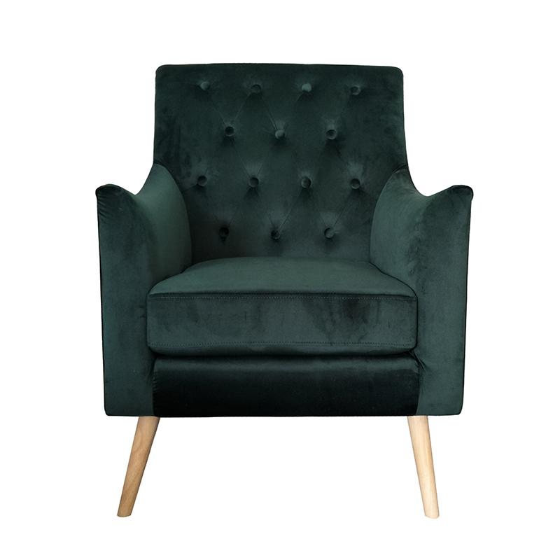 Υφασμάτινη πολυθρόνα με καπιτονέ πράσινη 65*75*87