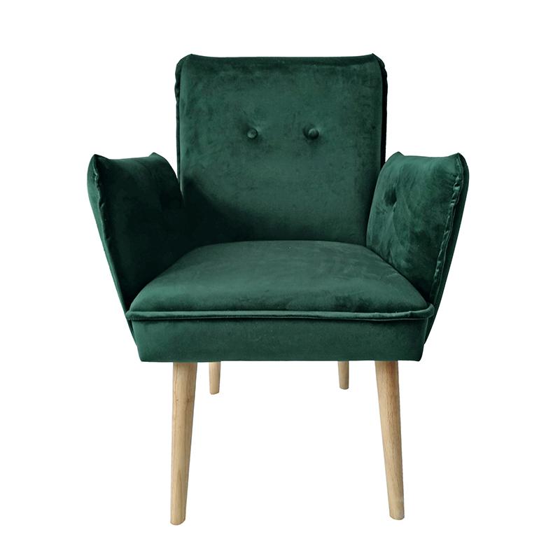 Υφασμάτινη πολυθρόνα με κουμπιά πράσινη 63*64*84